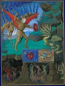 Enluminure de 1452-1460 sur l'archange Saint-Michel